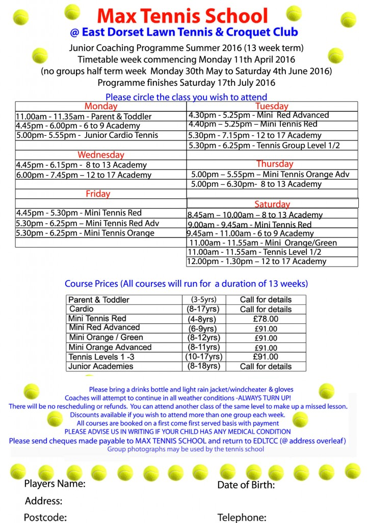 Junior coaching programme