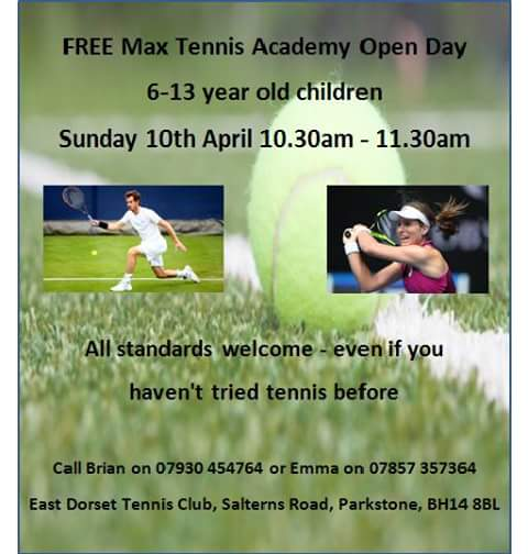 Max Tennis Academy Open Day – TODAY!