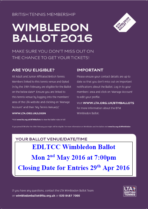 Club Wimbledon Ballot – Monday 2nd May