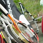 Generic shots of rackets and balls at the Great British Tennis Weekend