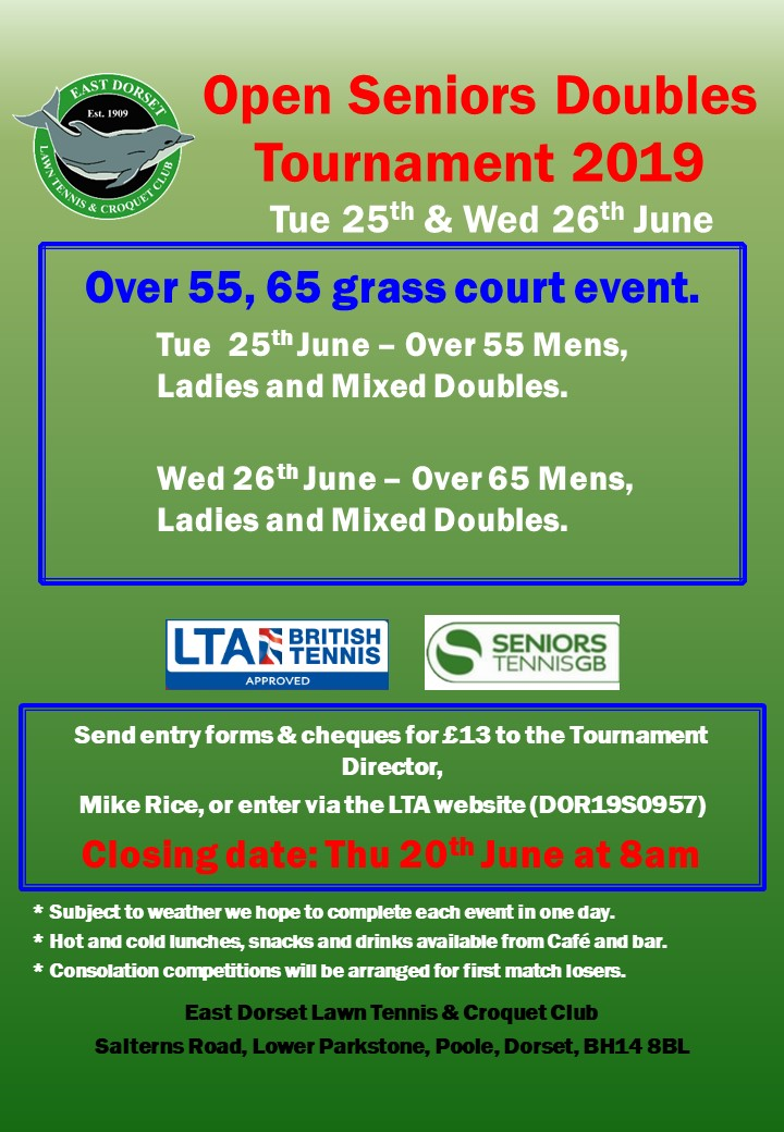 East Dorset Open Senior Doubles Tournament 25 and 26 June