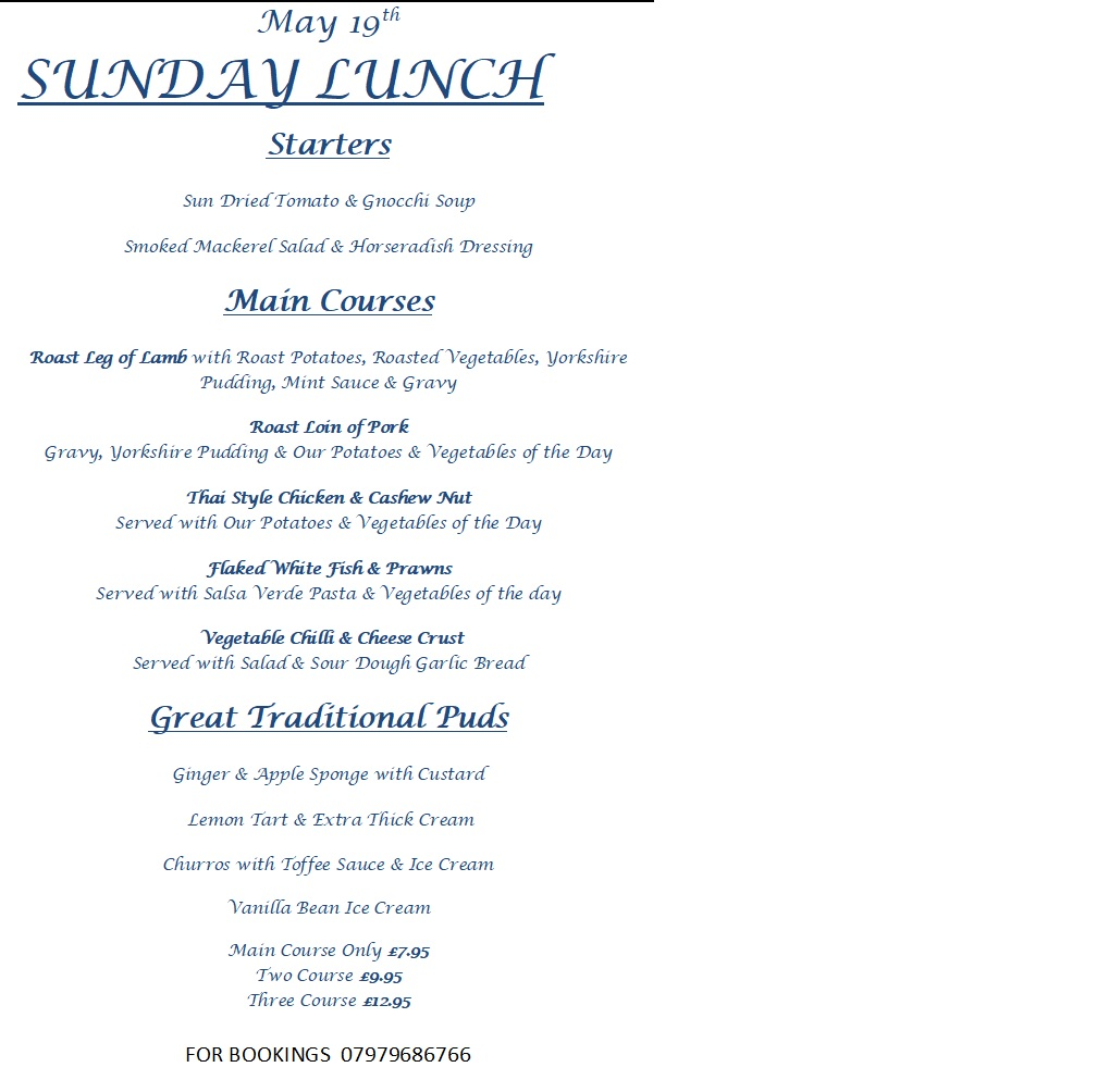 Sunday Lunch Menu 19 May