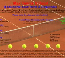 Autumn Term tennis coaching programmes